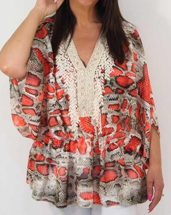 Shelby Snake Print Top - Orange