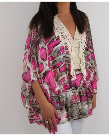 Shelby Snake Print Top - Pink