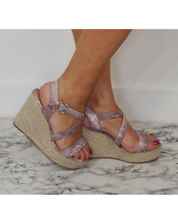 Fleur Crossover Hessian Heel Wedge Espadrille Sandals - Blush Snake Print
