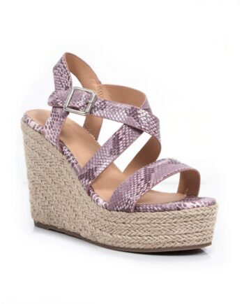 Fleur Crossover Hessian Heel Wedge Espadrille Sandals - Blush Snake Print
