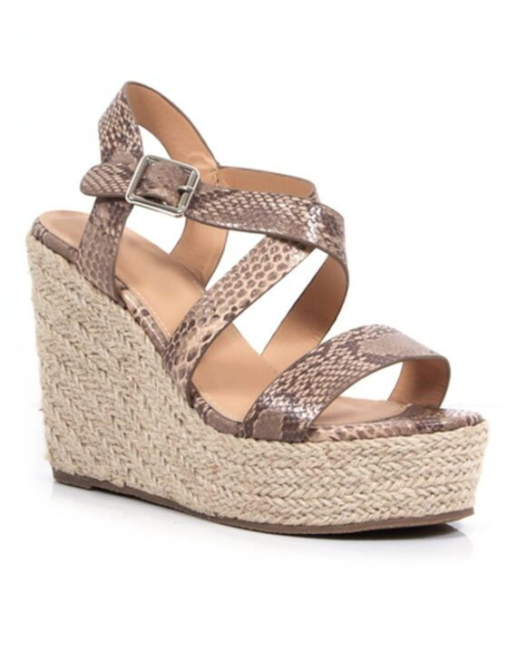 Fleur Crossover Hessian Heel Wedge Espadrille Sandals - Brown Snake Print