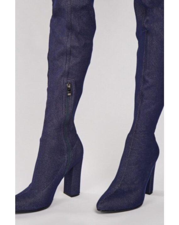 Ariya Denim Thigh High Over The Knee Boots - Blue