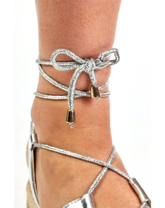 Helena Flat Wedge Lace Up Espadrille Sandals - Silver