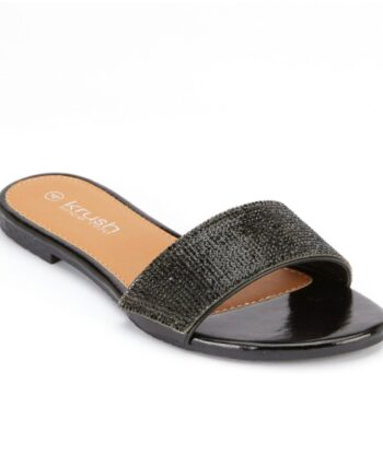 Denise Flat Diamante Summer Sliders - Black
