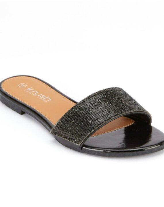 Denise Flat Diamante Summer Sliders - Black