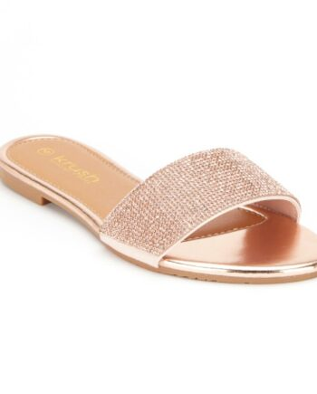 Denise Flat Diamante Summer Sliders - Rose Gold