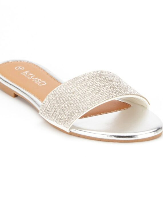 Denise Flat Diamante Summer Sliders - Silver