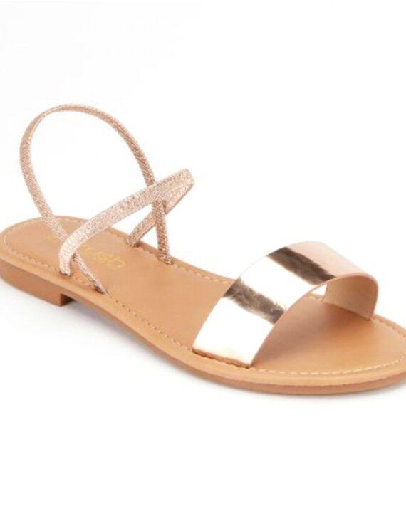 Carlee Metallic Elasticated Back Sandals - Rose Gold