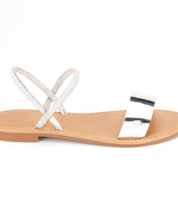 Carlee Metallic Elasticated Back Sandals - Silver