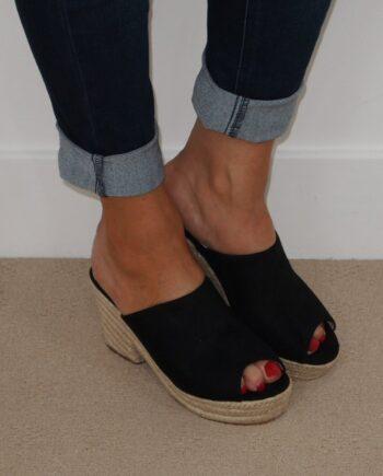 Victoria Mule Rope Heel Sandals - Black