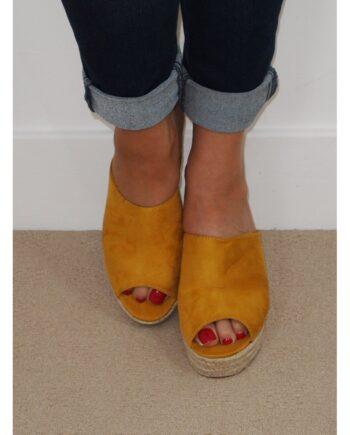 Victoria Mule Rope Heel Sandals - Yellow