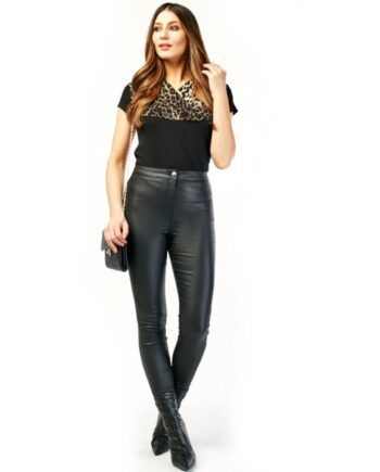 Lahna Faux Leather High Waisted Skinny Trousers - Black