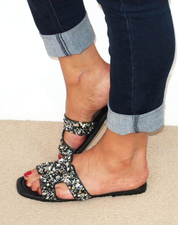 Stella Embellished Open Toe Sandals - Black