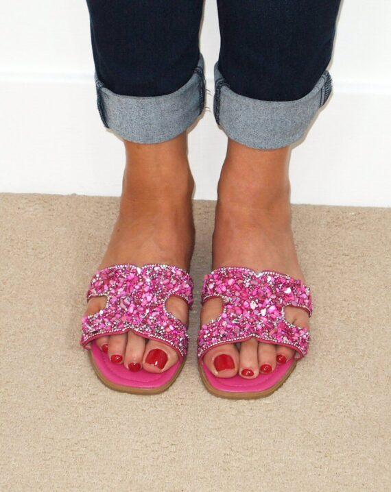 Stella Embellished Open Toe Sandals - Pink