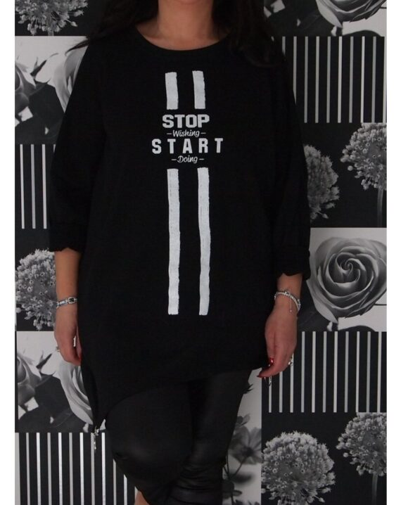 Teegan Aseymmetric Zipped Slogan Top - Black
