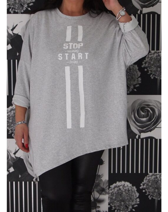 Teegan Asymmetric Zipped Slogan Top - Grey
