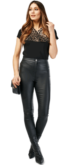 Faux leather skinny