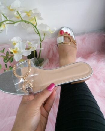 Shiela Diamante Perspex Strap Sliders - Silver
