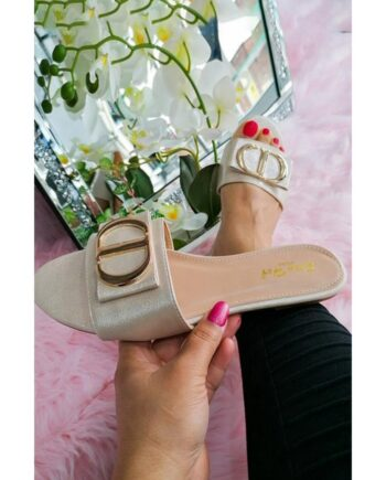 Sandy Fashion Pearlised Summer Sliders - Beige