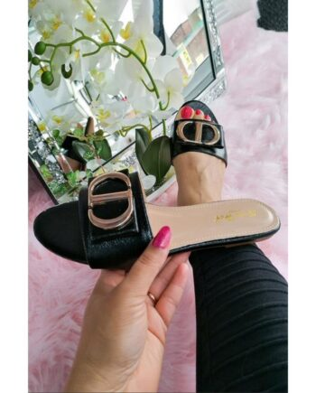 Sandy Fashion Pearlised Summer Sliders - Black