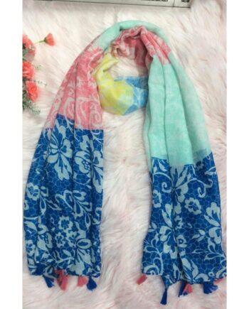 Vana Floral Print Scarf - Blue