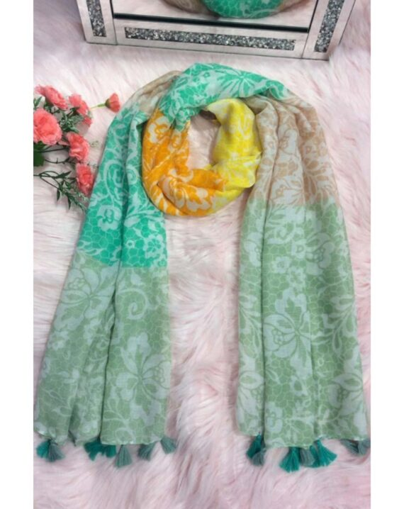 Vana Floral Print Scarf - Green