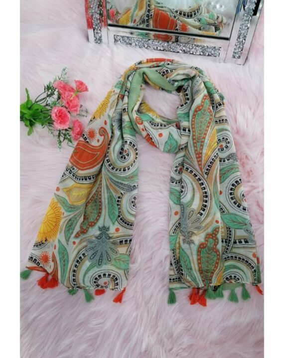Dolly Cotton Mix Print Scarf - Green