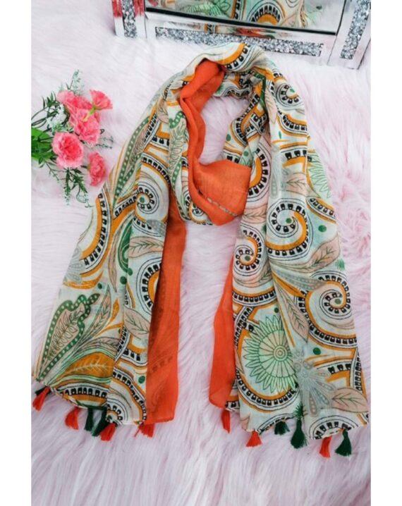 Dolly Cotton Mix Print Scarf - Orange