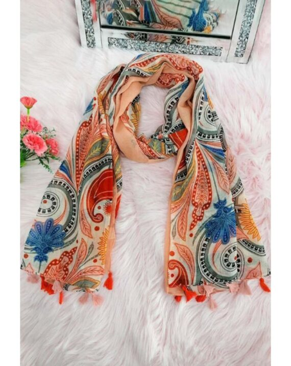 Dolly Cotton Mix Print Scarf - Rose