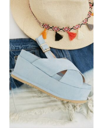 Carina Flat Wedge Crossover Strap Sandals - Blue