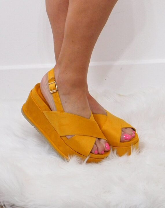 Carina Flat Wedge Crossover Strap Sandals - Yellow