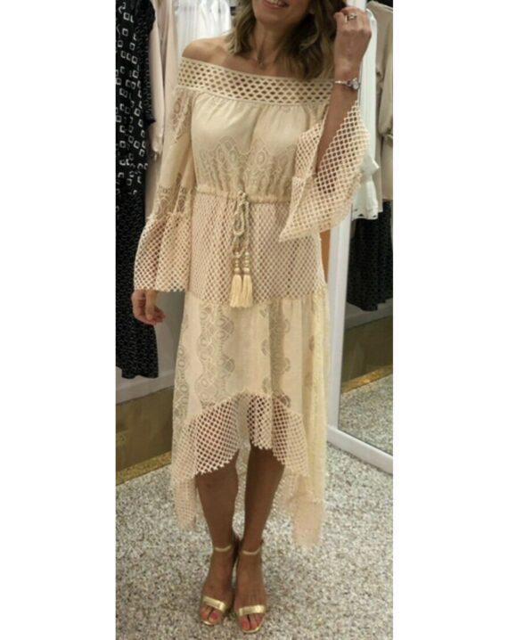 Virgo Lace Hi-Lo Bohemian Dress - Beige