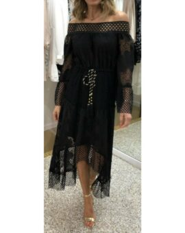Virgo Lace Hi-Lo Bohemian Dress - Black