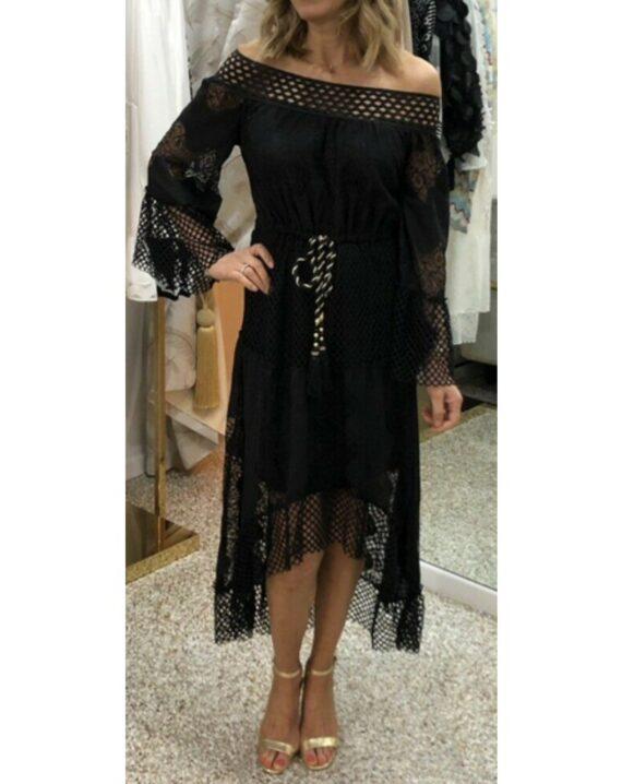 Virgo Lace Hi-Lo Bohemian Dress - Black