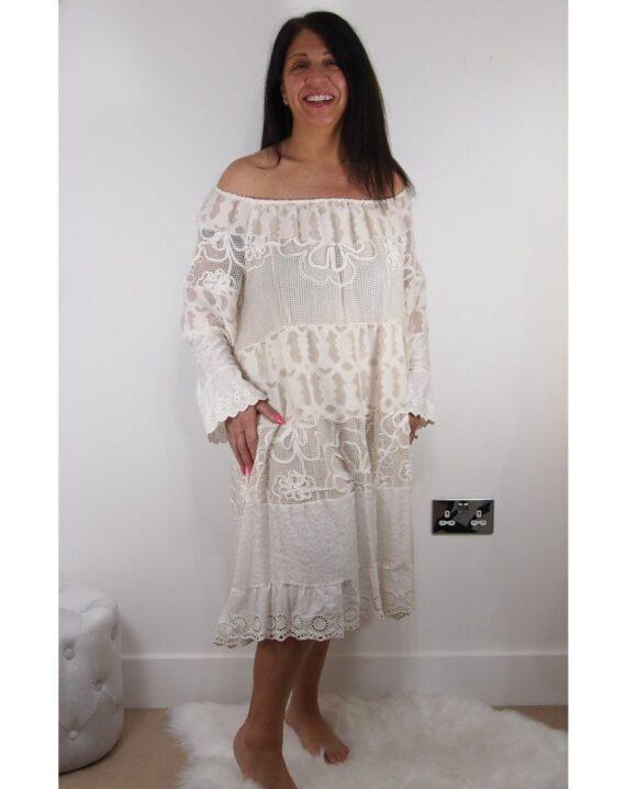 Angela Bardot Lace Dress - Beige