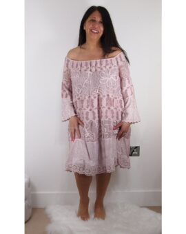 Angela Bardot Lace Dress - Pink