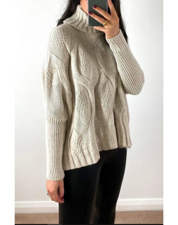 Anita Roll Neck Cable Knit Jumper - Beige
