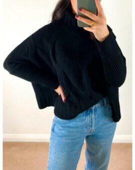 Anita Roll Neck Cable Knit Jumper - Black
