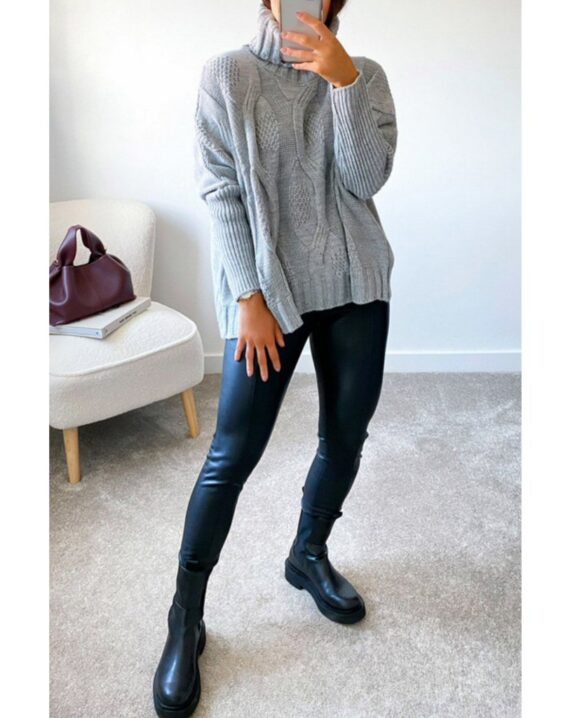 Anita Roll Neck Cable Knit Jumper - Grey