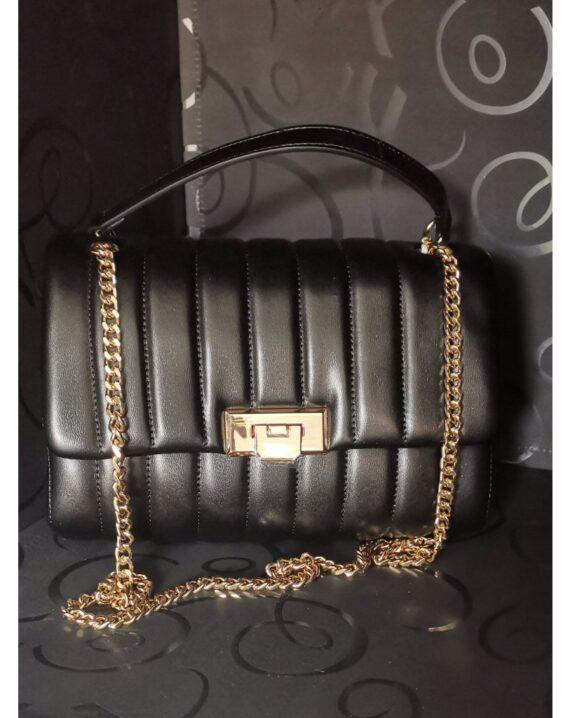 Quilted Flap Shoulder Bag - Black