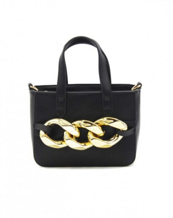 Chain Detail Mini Grab Bag - Black