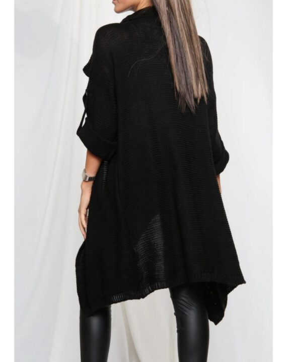 Gina Button Up Sleeve Cardigan - Black