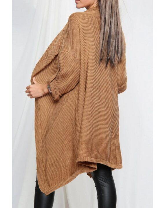 Gina Button Up Sleeve Cardigan - Camel