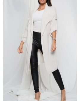 Gina Button Up Sleeve Cardigan - Beige
