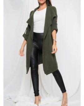 Gina Button Up Sleeve Cardigan - Khaki