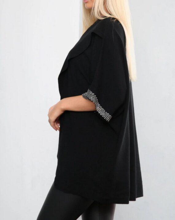 Charlie Diamante Sleeve Jumper - Black
