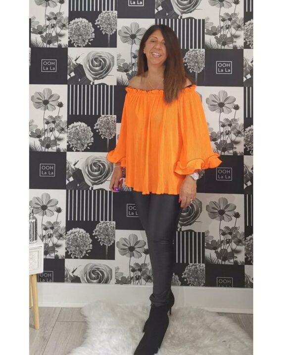 Tyler Frill Sleeve Bardot Top - Orange