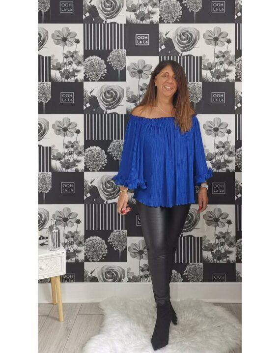 Tyler Frill Sleeve Bardot Top - Royal Blue