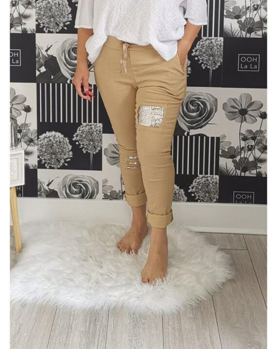 Lottie Sequin Stretch Magic Trousers - Cam