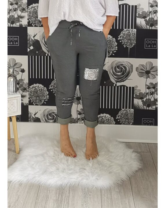 Lottie Sequin Stretch Magic Trousers - Charcoal